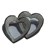 Double Heart Pin With Small Lines. - $12.50