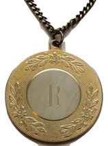 Vintage Gold Tone Initial Necklace. Letter R On Detailed Disc. - $10.00
