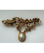 Large Branch Pin With Faux Pearl. Articulated Pin. Fir Branch Pin. - $12.00