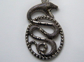 Large Snake Necklace. Coiled Snake Jewelry. - $11.00