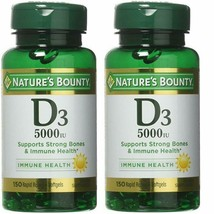 Natures Bounty Vitamin D3 5000iu 150 Softgels Pack of 2 Supplement Non-G... - $22.15