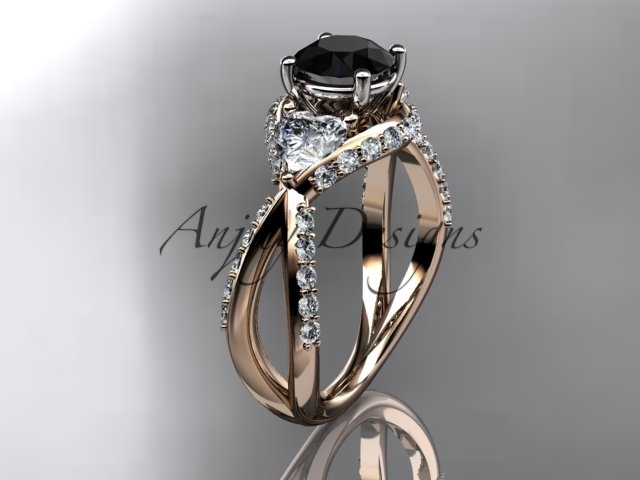 Unique 14kt rose gold diamond engagement ring with black diamond ADLR318