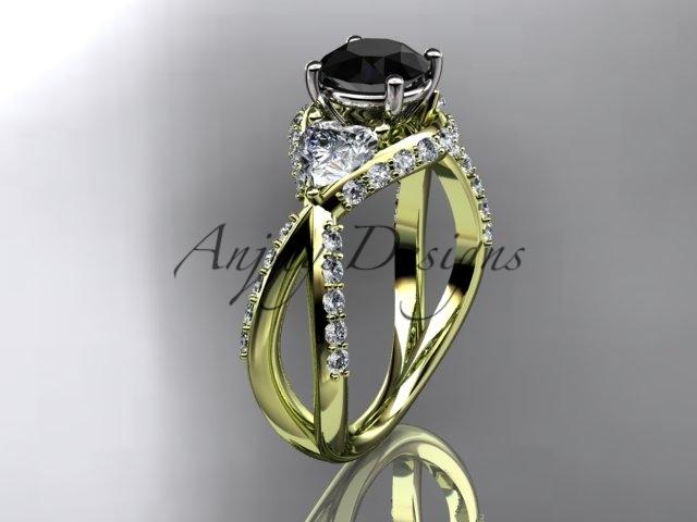 Leafring318 yellow gold  diamond wedding ring  diamond engagement ring  black diamond  1