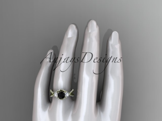 Unique 14kt yellow gold engagement ring with black diamond center stone ADLR318