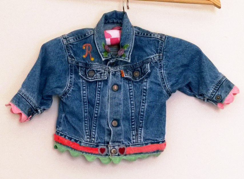 Primary image for Girls LEVI STRAUSS Denim Jacket Monogrammed R Size 12 Months