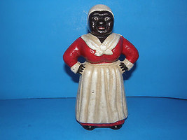 VINTAGE CAST IRON AUNT JEMIMA BANK -RED DRESS & WHITE APRON-HAND PAINTED... - $27.10