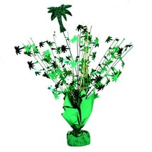 "2 Palm Tree Centerpiece balloon weights 17"" tall metallic green - $9.95"