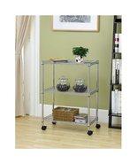 Wire Shelving Cart Unit 3 Shelves w/casters Shelf Rack Wheels Chrome ***... - $32.99