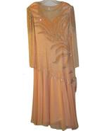 GALLERIA INTL PEACH SILK CHIFFON DRESS BEADED WEDDING FORMAL SPECIAL OCC... - $199.99