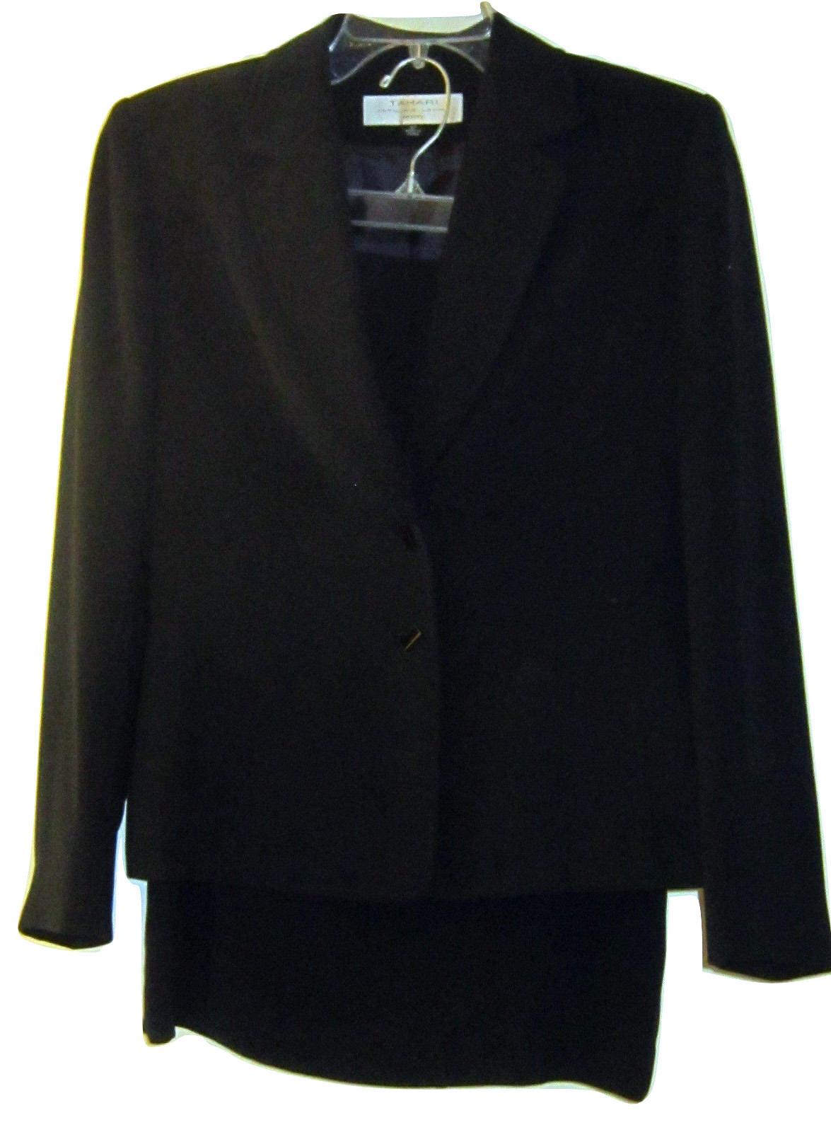 Tahari Arthur Levine Gray Black Stripe Straight Ponte Knit Skirt Sz 12 Career Women's Clothing