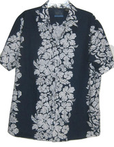 Pineapple Connection Mens Hawaiian Print Shirt Blue White Size Large - $24.99