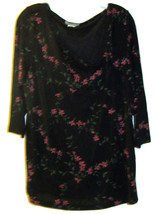 NOTATIONS FLORAL PRINT BLACK STRETCHY KNIT TOP SIZE 1X - $24.99