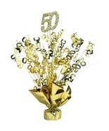 "2 Metallic Gold 50th Anniversary or Birthday Balloon Weights 15"" tall - $9.95"