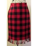 SAVION VINTAGE WOMENS PLAID SKIRT WOOL BLEND RED & BLACK FRINGE HEM SIZE 6 - $39.99