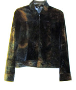 SHARON YOUNG DILLARDS JACKET FRONT ZIP UP MULTI COLORS EMBOSSED PRINT SI... - $29.99