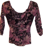 EXPRESS SUPER CUTE VELVET TOP FLORAL PRINT JUNIORS MEDIUM NWT - $21.99