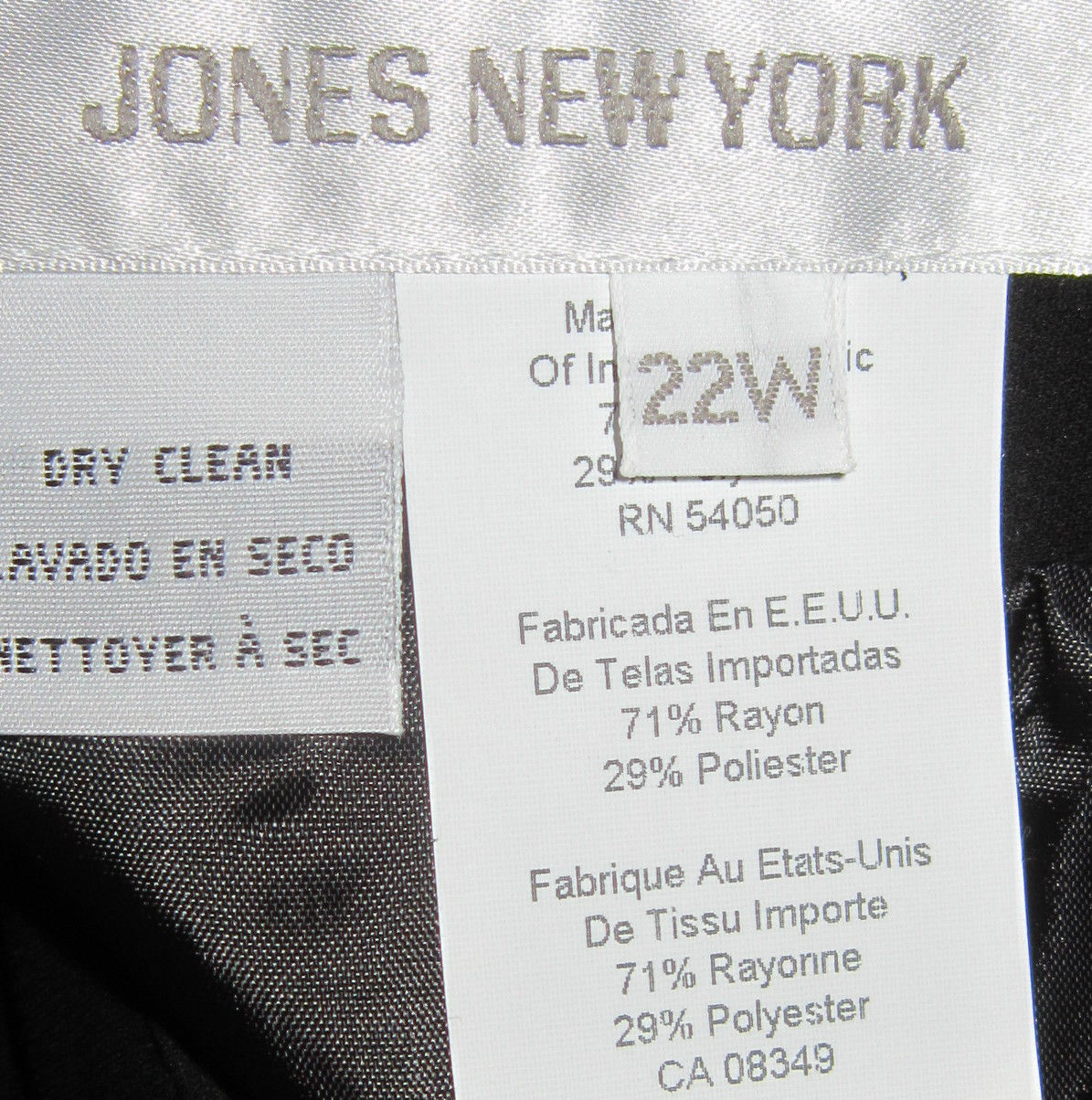 JONES NEW YORK WOMAN MACY'S PROFESSIONAL BLACK  SKIRT SIZE 22W NWT