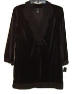 ALFANI MACY'S NEW BLACK VELVET TUNIC TOP ORGANZA TRIM 3/4 SLEEVES SIZE S - $39.99
