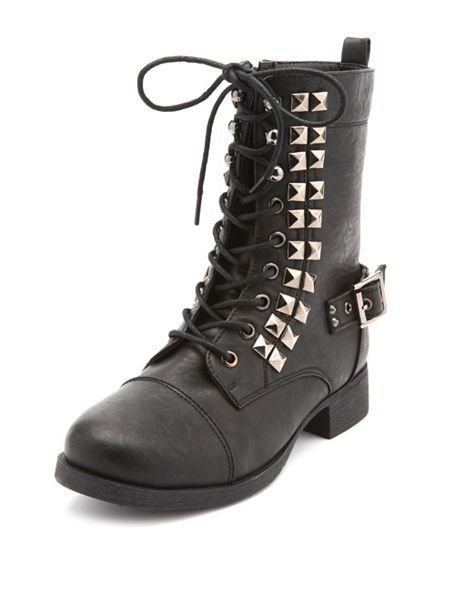 Black Faux Leather Pyramid Stud Lace Up Combat Military Ankle Boots 9 frye goth