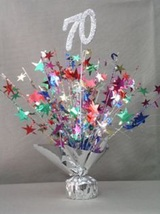 "2 Metallic Multicolor 70th Anniversary or Birthday Balloon Weights 15"" Tal - $9.95"