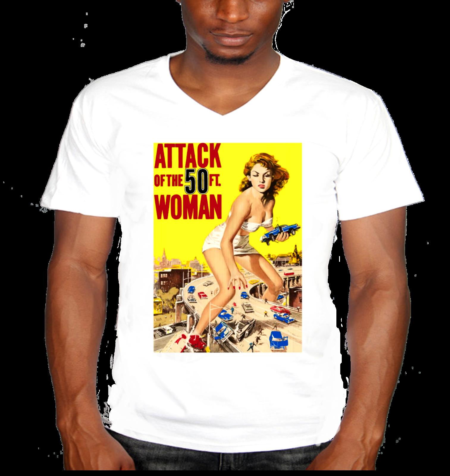 Attack of the 50 foot woman men 39 s vintage retro mens v for Attack of the 50 foot woman t shirt