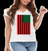 Red,Green & Black American Flag Ladies V-Neck T-Shirt - $12.00