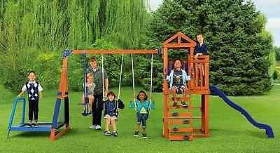 Primary image for Wood Swing Set with Trampoline Durable Sturdy Cedar Sandbox Slide and Fort Fun