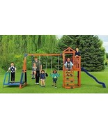 Wood Swing Set with Trampoline Durable Sturdy Cedar Sandbox Slide and Fort Fun  - $866.22