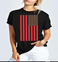 Leopard American Flag Ladies T-Shirt - $12.00+