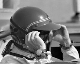 Steve McQueen profile at wheel of race car adjusting goggles with watch ... - $69.99
