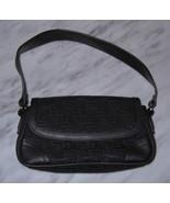 Womens Black Handbag Bag Liz Claiborne Logo Signature Jacquard Small Purse  - $7.00