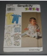 Simplicity 8089 Baby Layette, gown, dress, romper, more Size NB - 12 mos. - $4.00