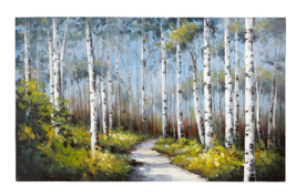 Slender White Blue Birches Tree Art Hand-Painted Acrylic  - $229.99