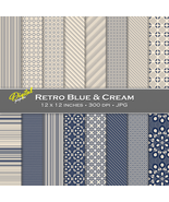 Retro Blue-Cream Backgrounds - Digital Scrapbook Papers - $4.00