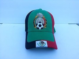 Embroidered Black Red Green Mexico Mexican Soccer Baseball style Cap Hat - $9.89