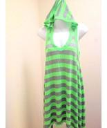 Lagaci M Tunic Dress Green Gray Striped Hooded Asymmetric Hem Coverup Mini - $19.58