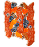 My Silk Scarf Wants to be a Garden Fence: Quilted Art Wall Hanging - $435.00