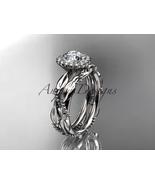 Unique bridal ring set, 14kt white gold diamond leaf and vine wedding se... - $1,280.00