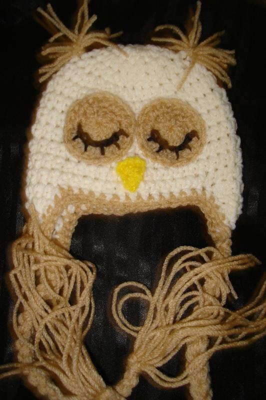 Primary image for Hand crocheted sleepy owlet beanie/cap/earflap hat photography prop for baby/inf