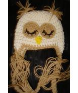 Hand crocheted sleepy owlet beanie/cap/earflap hat photography prop for ... - $15.00