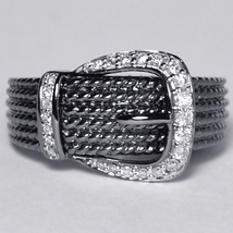 Genuine Diamond Designer Buckle Band Ring Womens Black Rhodium 14K Gold - $599.00