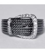 Genuine Diamond Designer Buckle Band Ring Womens Black Rhodium 14K Gold - $599.00