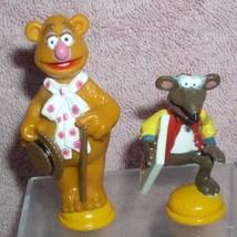 Jim Henson The Muppets Fozzie  bear & Rizzo the rat yellow base 2 pvc figs - $19.34