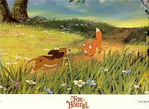 Disney Fox and the Hound running dated 1981 Lobby Card