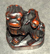 Old Chinese Wood Hand Carved Fu Lion Foo Dog Monkey On Back Figurine Statue  image 3