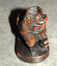 Old Chinese Wood Hand Carved Fu Lion Foo Dog Monkey On Back Figurine Statue  image 8