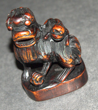 Old Chinese Wood Hand Carved Fu Lion Foo Dog Monkey On Back Figurine Statue  image 9