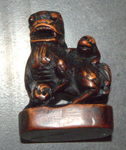 Old Chinese Wood Hand Carved Fu Lion Foo Dog Monkey On Back Figurine Statue  image 10