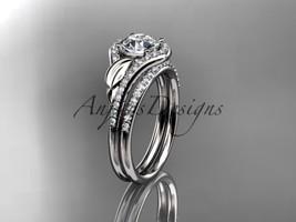 Unique leaf engagement ring set, bridal ring, 14kt white gold diamond en... - $2,525.00