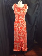 Sydney Honolulu Double Ruffle Scoopneck Maxi Dress Sheath Orange Wiggle ... - $84.15